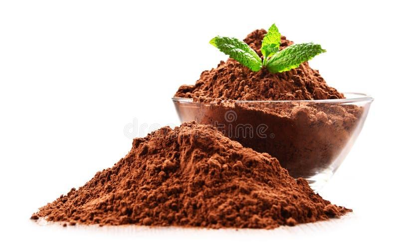 Composizione con la ciotola di cacao in polvere isolata su bianco fotografia stock