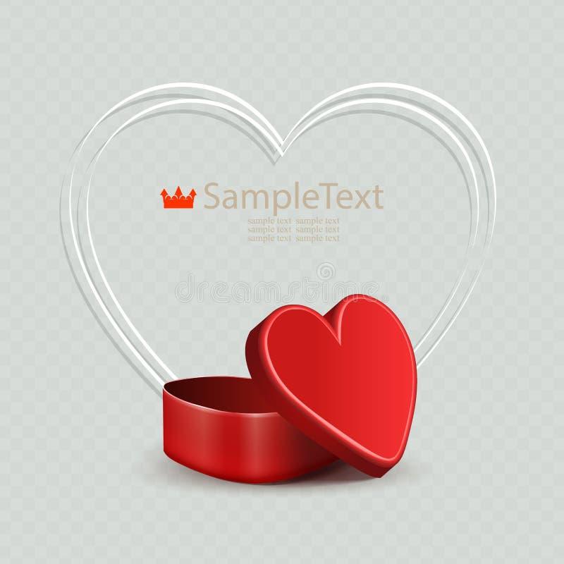 Composizione con un cofanetto rosso e una siluetta sottile bianca del cuore illustrazione di stock