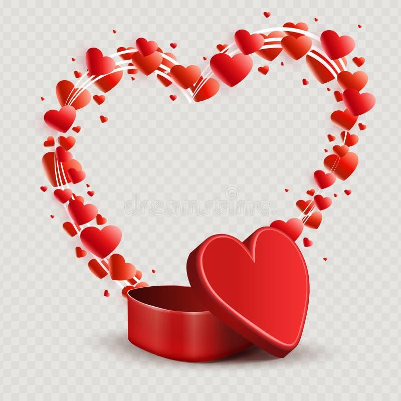 Composizione con una scatola rossa e una siluetta di un cuore ricavato da vari cuori royalty illustrazione gratis