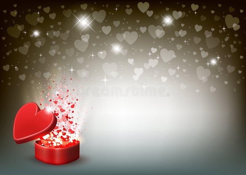 Composizione con una scatola rossa, uno scintillio e molti cuori illustrazione di stock