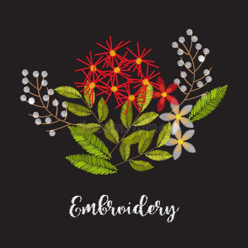 Composizione d'annata nel fiore del ricamo per la decorazione royalty illustrazione gratis