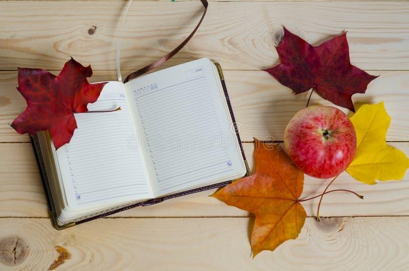 Composizione d'autunno, diario aperto, foglie colorate, frutta di mele in colori succhi, su uno sfondo di legno leggero fotografie stock libere da diritti