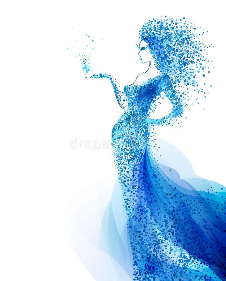 Composizione decorativa blu con la ragazza Le ciano particelle hanno formato la figura astratta della donna royalty illustrazione gratis