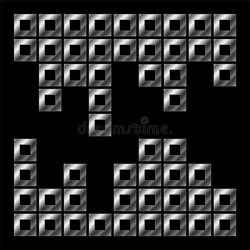 Composizione dei cubi in argento illustrazione di stock