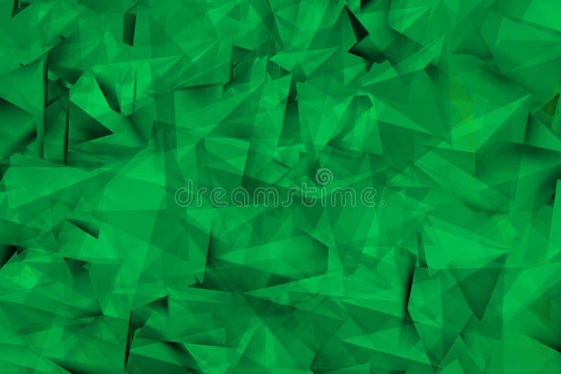 Composizione dei triangoli verdi con le ombre illustrazione vettoriale