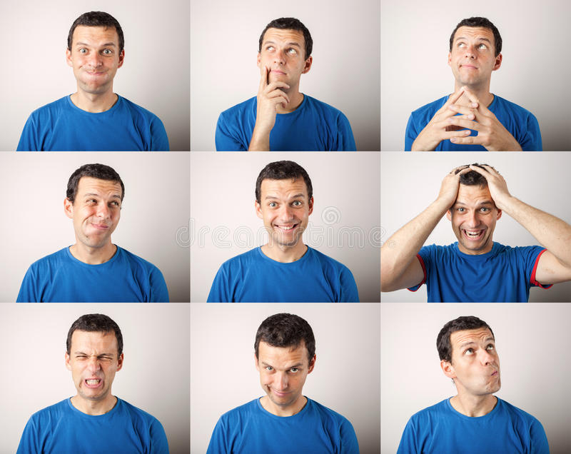 Composizione del giovane che esprime le emozioni differenti immagini stock