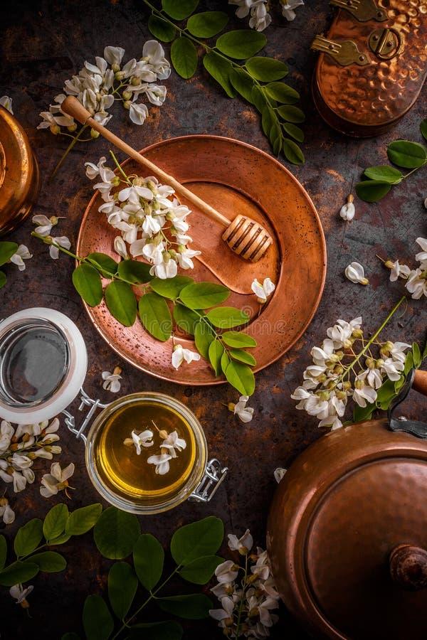 Composizione del miele dell'acacia immagine stock libera da diritti
