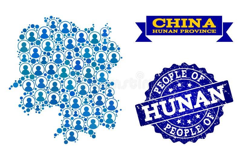 Composizione della gente della mappa di mosaico del bollo della guarnizione di lerciume e della provincia del Hunan illustrazione di stock