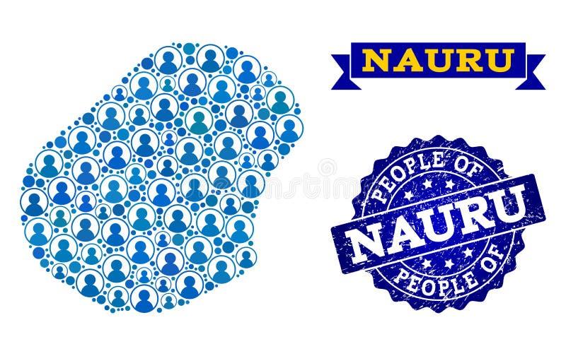 Composizione della gente della mappa di mosaico del Nauru e della guarnizione di emergenza illustrazione di stock