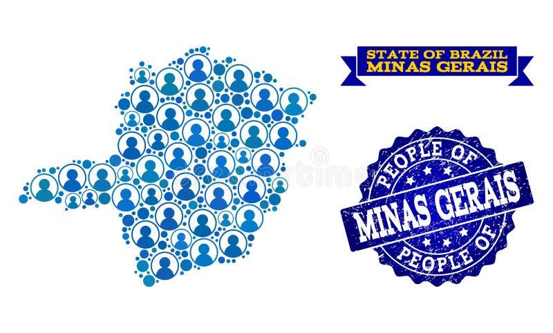 Composizione della gente della mappa di mosaico di Minas Gerais State e della guarnizione strutturata royalty illustrazione gratis