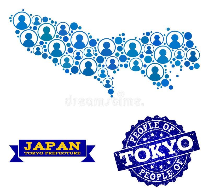 Composizione della gente della mappa di mosaico della prefettura di Tokyo e della guarnizione graffiata royalty illustrazione gratis