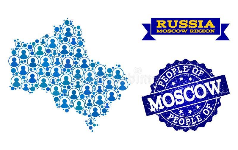 Composizione della gente della mappa di mosaico della regione di Mosca e del bollo di emergenza illustrazione di stock
