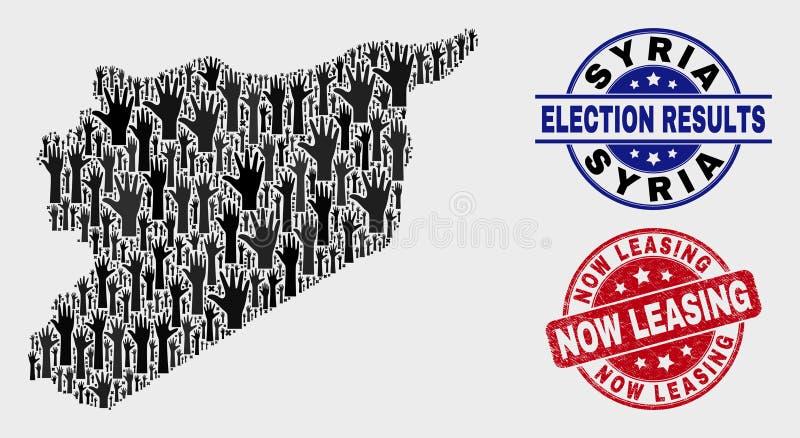 Composizione della mappa della Siria di elezione e della guarnizione ora di leasing graffiata illustrazione vettoriale