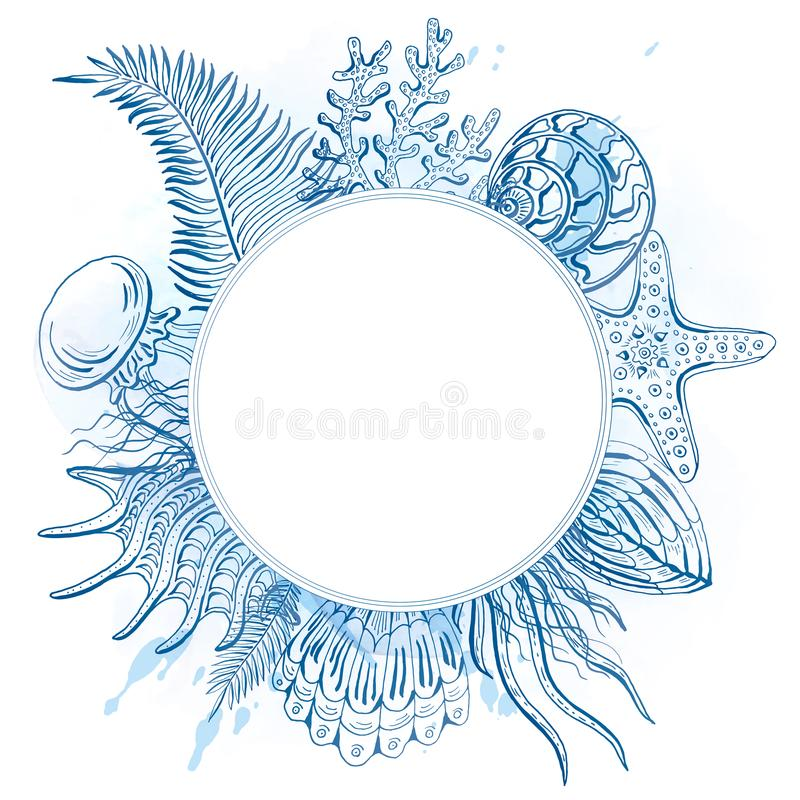 Composizione delle conchiglie, stelle marine, meduse Mondo subacqueo Priorità bassa del mare royalty illustrazione gratis