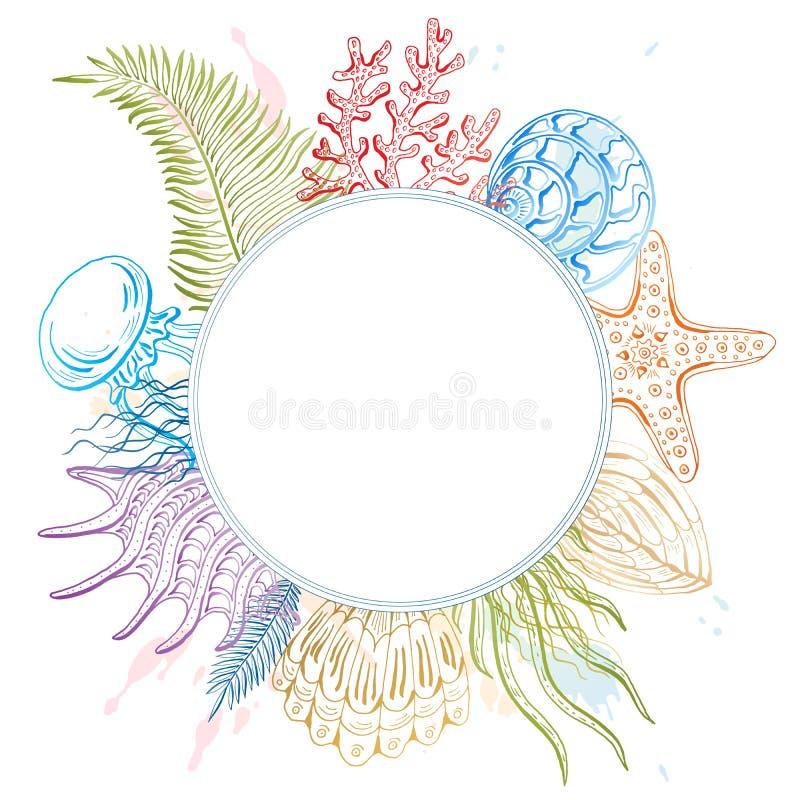 Composizione delle conchiglie, stelle marine, meduse Mondo subacqueo Priorità bassa del mare illustrazione di stock