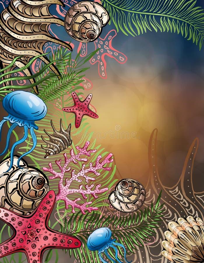 Composizione delle conchiglie, stelle marine, meduse Mondo subacqueo Priorità bassa del mare illustrazione vettoriale