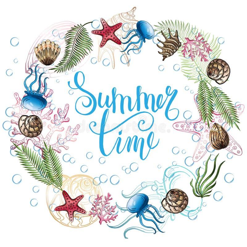 Composizione delle conchiglie, stelle marine, meduse Mondo subacqueo Priorità bassa del mare Illustrazione di vettore illustrazione di stock