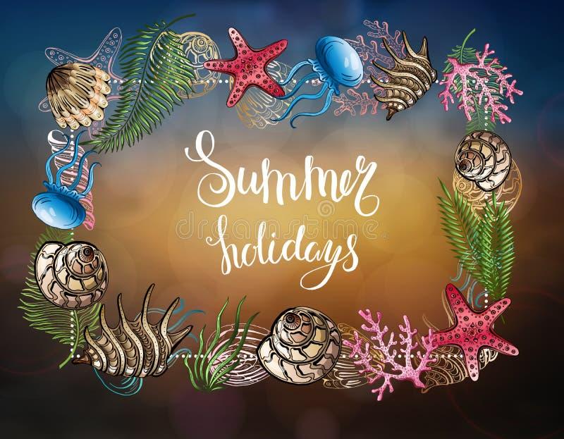 Composizione delle conchiglie, stelle marine, meduse Mondo subacqueo Priorità bassa del mare Illustrazione di vettore royalty illustrazione gratis