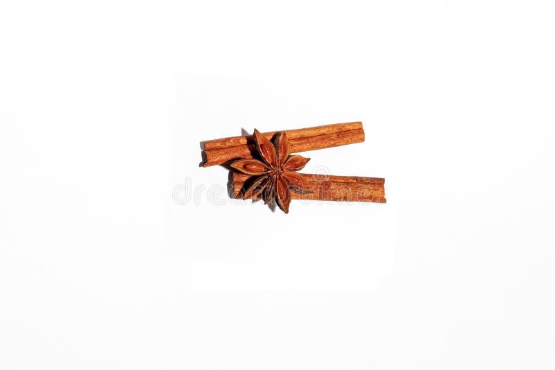 Composizione delle spezie fragranti piccanti usate per produrre vin brulé: due bastoni della stella marrone dell'anice e della ca fotografia stock libera da diritti