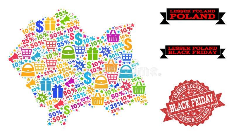 Composizione di Black Friday della mappa di mosaico di Lesser Poland Province e della guarnizione strutturata illustrazione di stock