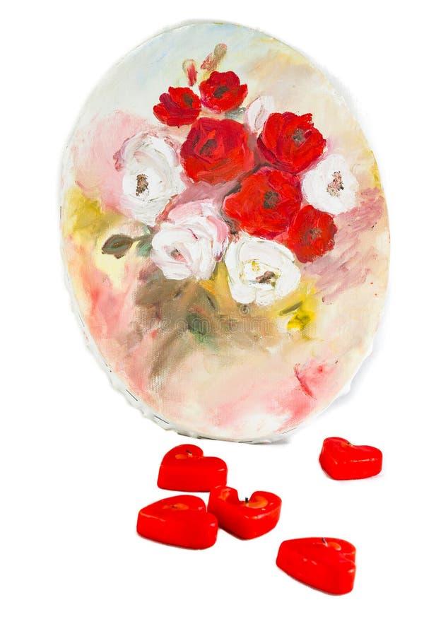 Composizione di giorno di biglietti di S. Valentino delle rose che dipingono e in forma di cuore con riferimento a immagine stock