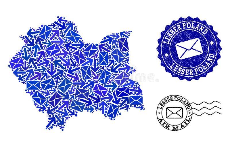 Composizione di moto della posta della mappa di mosaico dei bolli di emergenza e di Lesser Poland Province illustrazione vettoriale
