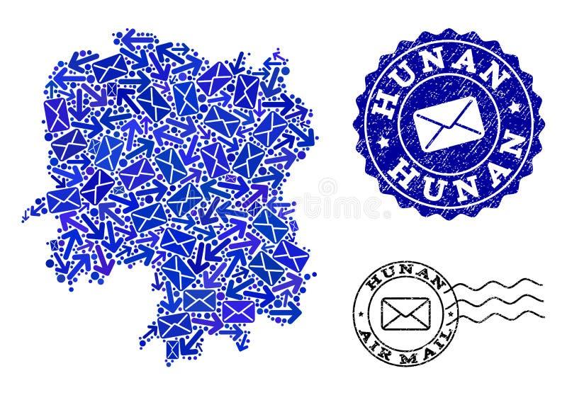 Composizione di moto della posta della mappa di mosaico della provincia del Hunan e dei bolli strutturati illustrazione vettoriale