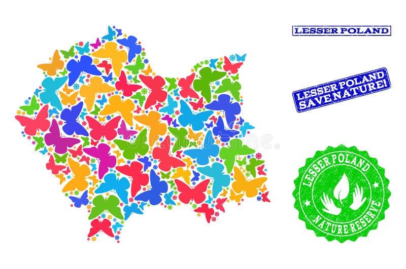 Composizione di risparmio della natura della mappa di Lesser Poland Province con le farfalle e le filigrane di gomma illustrazione vettoriale