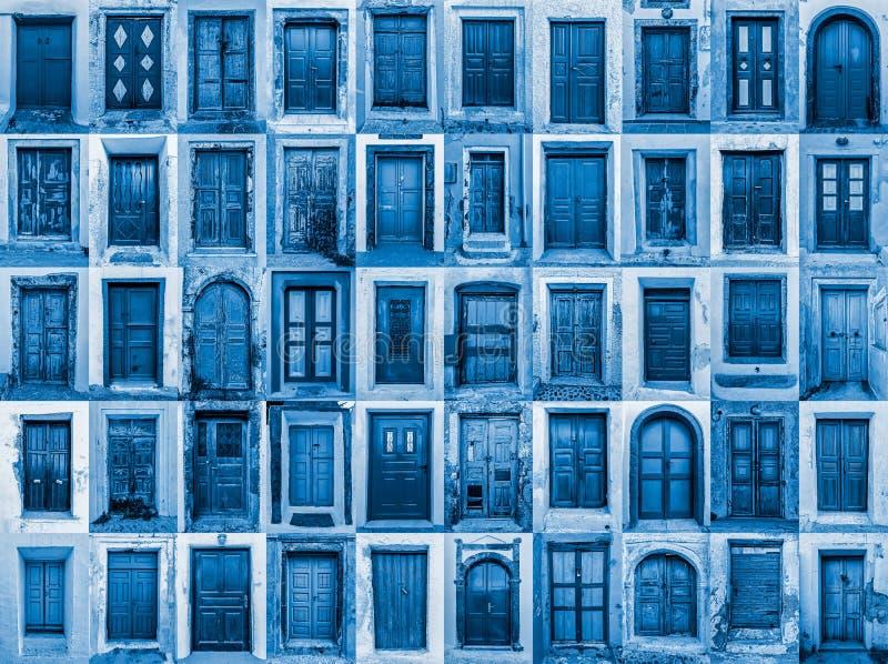Composizione di varie antiche porte residenziali fotografia stock