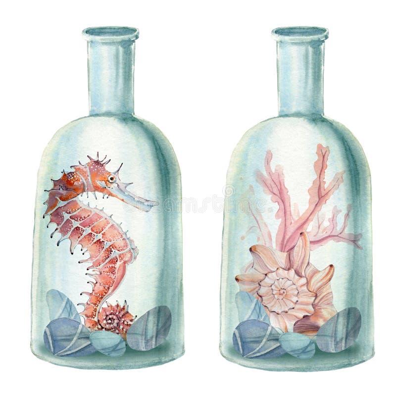 Composizione disegnata a mano nel mare dell'acquerello con la vecchia bottiglia illustrazione vettoriale