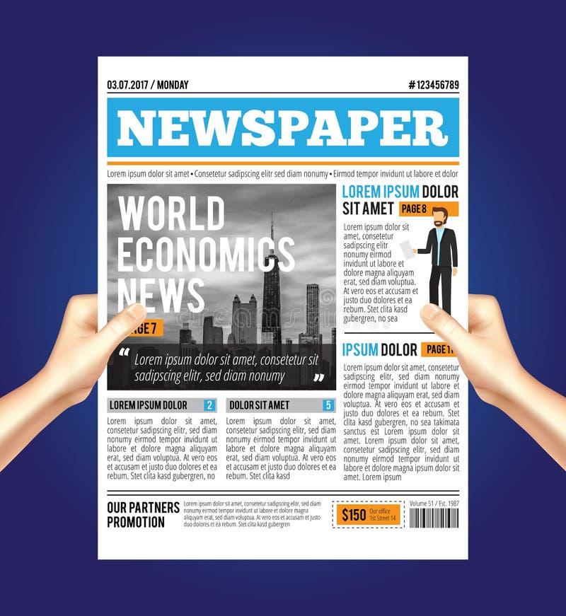 Composizione economica nel giornale del mondo illustrazione vettoriale