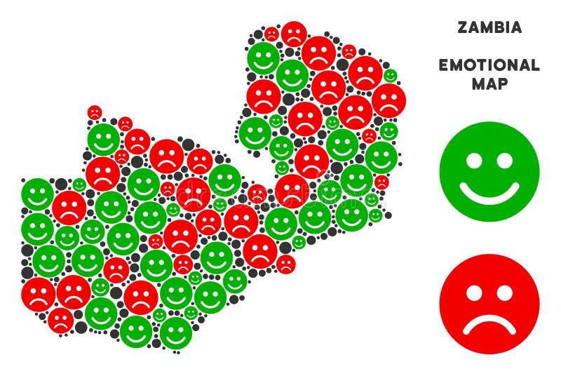 Composizione emozionale della mappa dello Zambia di vettore di Emojis royalty illustrazione gratis