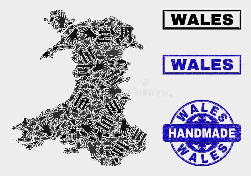 Composizione fatta a mano della mappa di Galles e del bollo graffiato illustrazione vettoriale