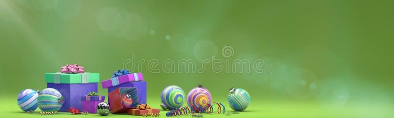 Composizione in festa con la decorazione del giocattolo con la scatola magica fotografia stock