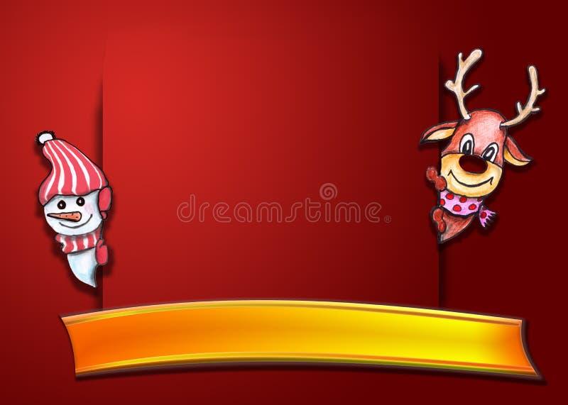 Composizione in feste di Natale su fondo rosso con lo spazio della copia per la vostra cartolina di Natale rossa del testo illustrazione di stock
