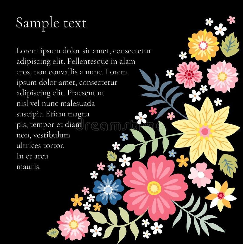 Composizione floreale con i bei fiori di estate e posto per testo illustrazione di stock