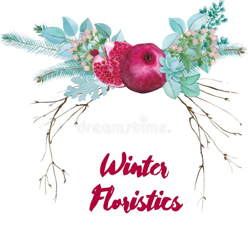 Composizione floristica nell'acquerello di vettore immagini stock