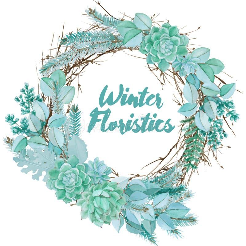 Composizione floristica nell'acquerello di vettore fotografie stock libere da diritti