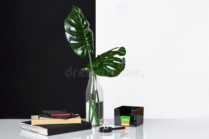 composizione Foglie verdi in bottiglia con un libro e un blocco note per le note su fondo bianco e nero Vista frontale, copia immagine stock libera da diritti