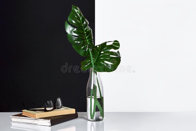 composizione Foglie verdi in bottiglia con un libro e un blocco note per le note su fondo bianco e nero Vista frontale, copia fotografie stock