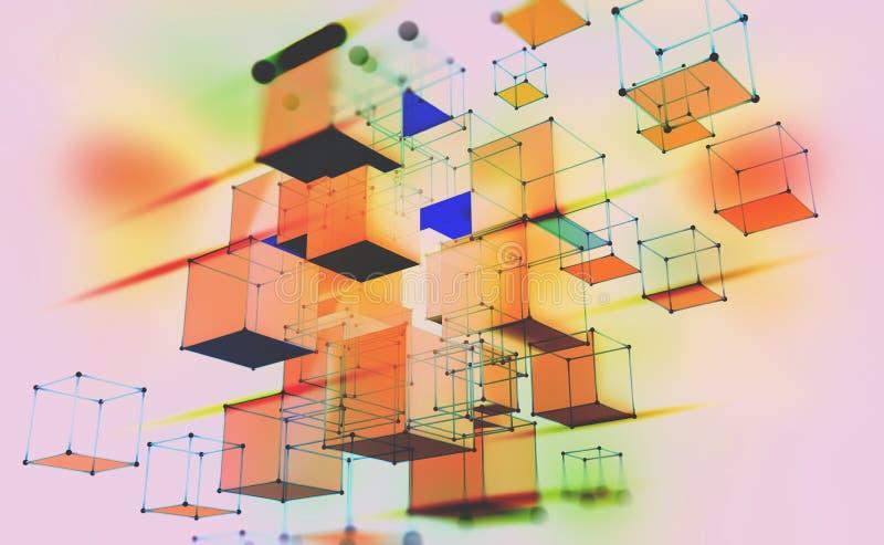 Composizione geometrica astratta Cubi volumetrici su un fondo leggero illustrazione di stock