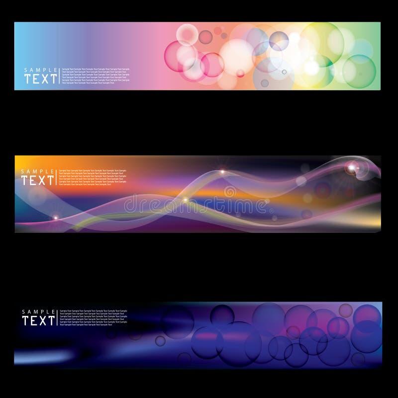 Composizione geometrica astratta - fondo multicolore del cerchio metta di tre insegne varicolored, intestazioni astratte illustrazione vettoriale