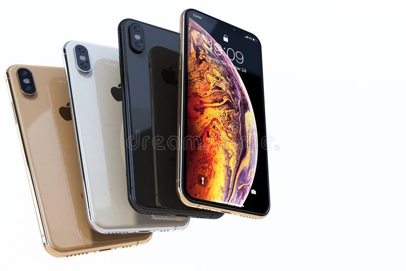 Composizione grigia nell'oro, nell'argento e nello spazio di Xs di iPhone quattro su bianco immagini stock