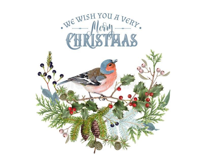Composizione in inverno dell'uccello illustrazione di stock
