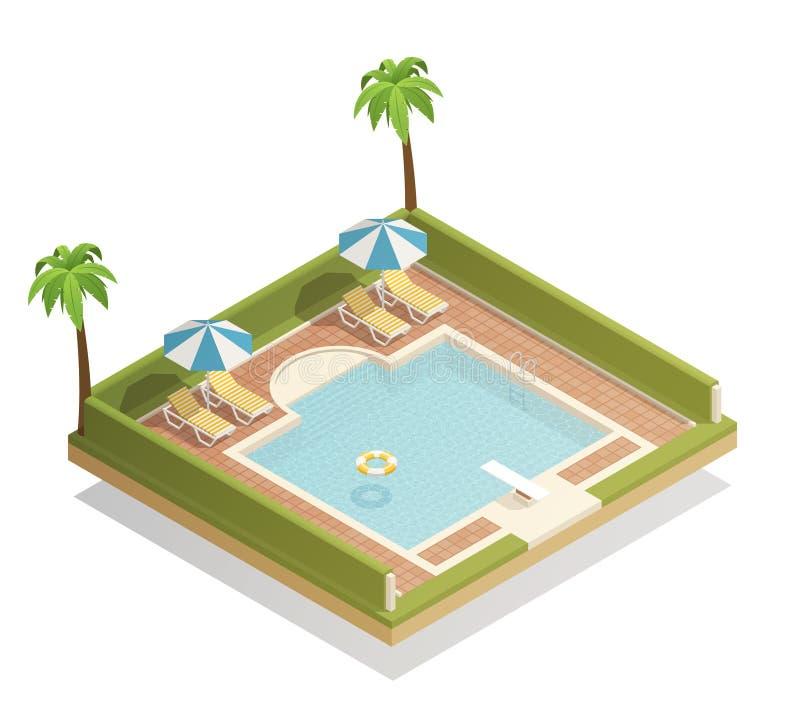 Composizione isometrica all'aperto nella piscina royalty illustrazione gratis
