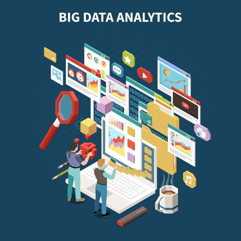 Composizione isometrica colorata in analisi dei dati di Big Data illustrazione di stock