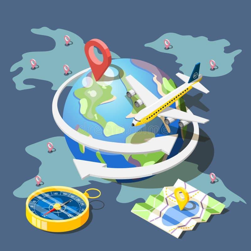 Composizione isometrica di viaggio di progettazione illustrazione di stock