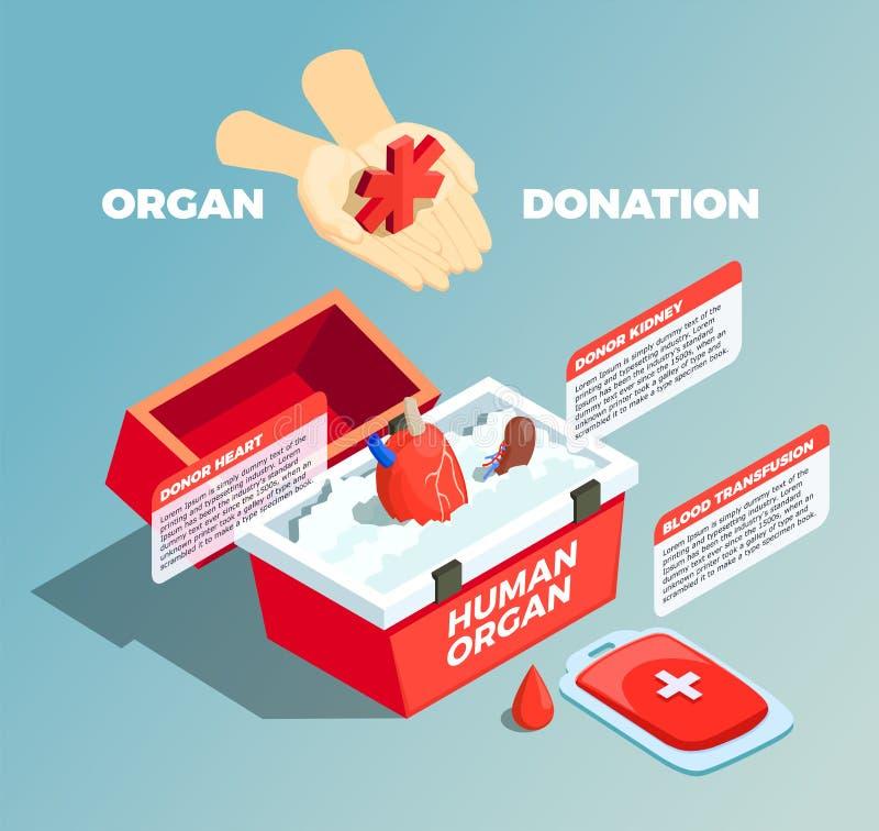 Composizione isometrica in donazione di organo royalty illustrazione gratis