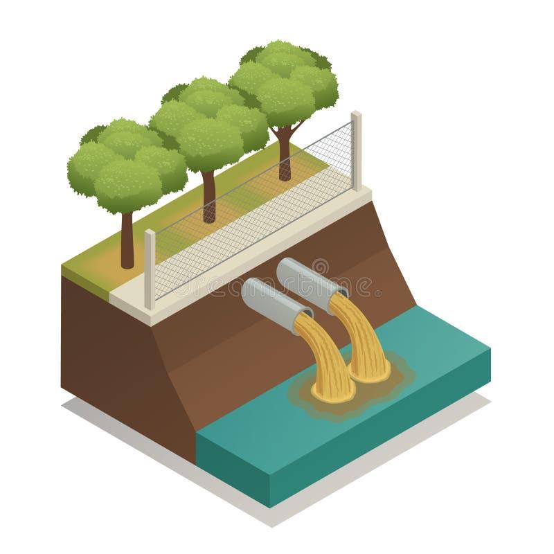 Composizione isometrica ecologica in trattamento delle acque reflue royalty illustrazione gratis