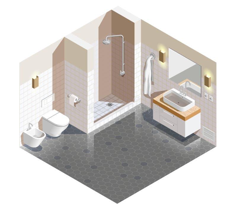 Composizione isometrica interna nel bagno illustrazione di stock